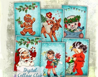 80 % off Summer Sale Retro Christmas Party- Digital Christmas Images for Jewelry Holders Atc Cards Digital Tags Cards Labels Download Collag