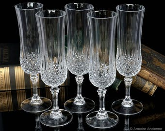 5x Vintage Crystal Champagne Glasses, CRISTAL D'ARQUES 'Longchamp' / Mid Century French Glassware