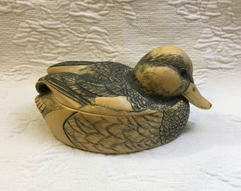 Artek Duck, Faux Scrimshaw, 1983, Trinket Box, Signed, Faux Scrimshaw Duck, Faux Ivory, Waterfowl Figurine, Waterfowl Lidded Box, Gdel