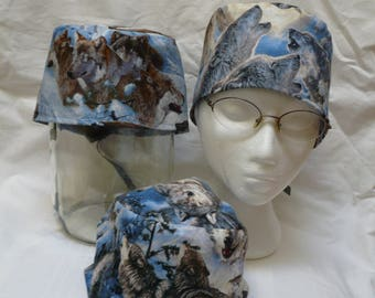 Wolves snow moon n eagles, or wolves on ice & mountains print traditional tie back scrub cap, 100% cotton, for Veterinarians, vet techs