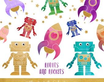Robot & Rocket Clipart Set - Cute Space Images - INSTANT DOWNLOAD - 23 .PNG Images