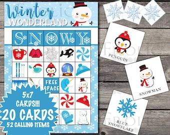 Winter Bingo 20 Printable Cards INSTANT DOWNLOAD