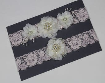 Wedding Garter Set Bridal Garter Ivory/Pink Garter Keepsake Garter Toss Garter Weddings Lace Garter  Garter Bridal Accessories Garters