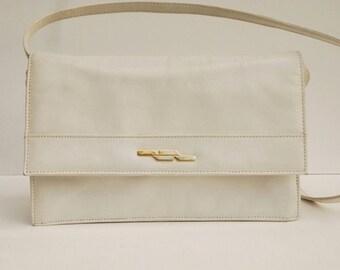 Vintage White Shoulder Bag Genuine Leather Handbag Gift for her Messenger Bag Shoulder Bag