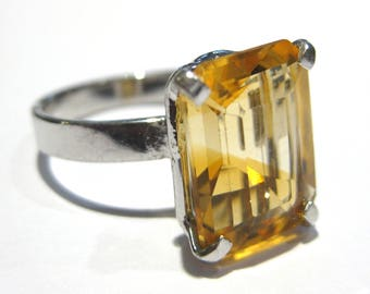citrine Ring  silver 925%