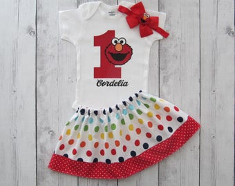 Elmo First Birthday Outfit for baby girl - Elmo birthday outfit, elmo birthday girl, elmo polka dot skirt, elmo 1 birthday shirt, elmo girl