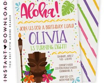 Luau Invitation, Hawaiian Invitations, Luau Birthday Invitation, Luau Party, Luau Party Invitations, Luau Invite, Luau Birthday, Luau   220