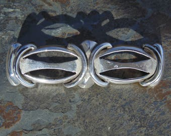 Rafael Melendez ~ Vintage Taxco 980 Silver Brooch with C Clasp - c. 1940