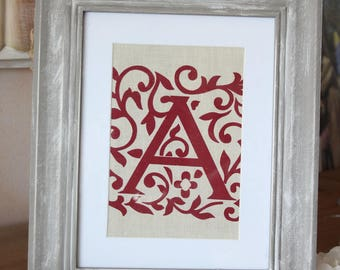 """Monogram """"A"""" and scrolls - distressed frame - Shabby chic style frame"""