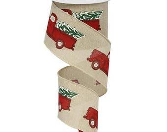 Christmas Ribbon, Vintage Red Truck Ribbon, Bow Ribbon, Wired Ribbon, Linen Ribbon, Wreath Ribbon, Gift Ribbon, Natural Red Burgundy Emerald
