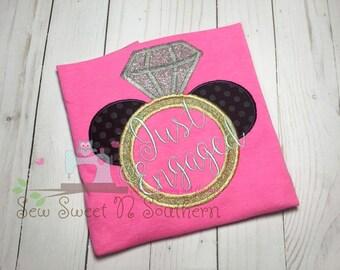 Just engaged Mickey Mouse ring shirt, Disney engagement shirt, Embroidered Diamond mickey ring shirt, Disney world engagement.