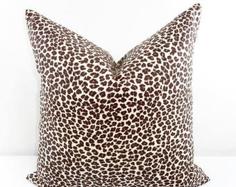 SALE Brown Pillow. Leopard Pillow Cover. Animal Print. Chocolate And  Natural. Decorative