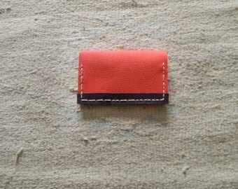 Pouch two-tone Pink/Purple Leather credit card