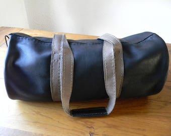 Handmade black leather travel bag