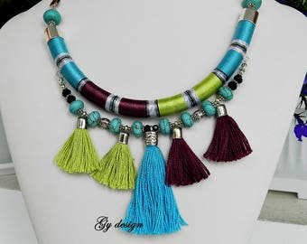 Tassel sky blue necklace boho necklace statement thread wrapped necklace tribal necklace rope necklace choker necklace rope necklace