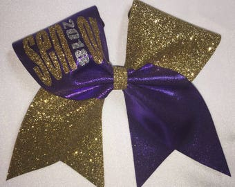 Gold glitter and purple senior 2018 cheer bow