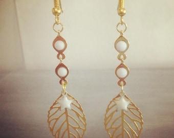 Fancy earrings gold chic leaf pendants and stars