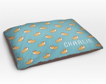 Personalized Corgi Dog Bed, Dog Beds, Large Pet Bed, Cute Corgi Dog Duvet, Custom Name Dog Bed Pillow, Dog Gifts for dog