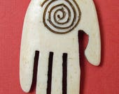 Carved Bone Hand Shape Pendant With Spiral Motif, 1 1/4 inch W x 2 inch H, Jewelry Making, Tribal Look, Necklace Supplies, Boho Style