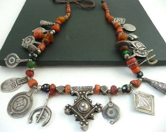 Antique Berber Necklace //  Moroccan Berber Silver Pendants //  Coral Amber Beads // Anti-Atlas Tribal Necklace // Vintage Jewelry