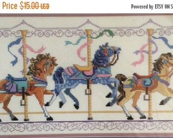 Eclipse SALE 1980s Merry Go Round Horses Counted Cross Stitch Kit  16 x 9 From The Heart 53542