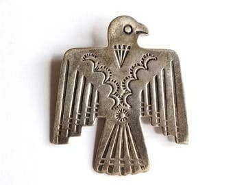 Vintage Sterling Silver Thunderbird Pin Brooch Fred Harvey Era Native American Eagle Peyote
