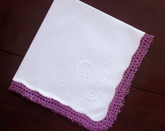 White cotton handkerchief vintage with handmade lace