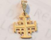 Cross - Jerusalem Cross  14mm - 18K Gold Vermeil