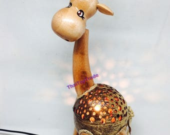 "13"" Deer Handmade decorative Coconut Shell Wood Table Lamp Bedside Desk Lamp"