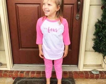 Girls Birthday Shirt - Watercolor Tee - Pink Birthday shirt - Girls Birthday Shirt - Kids Graphic Tee - Birthday Number Tee