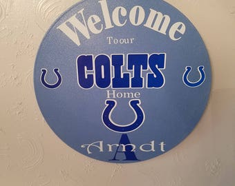 Personalized Colts wall hanging, upcycled record album,Indianapolis Colts