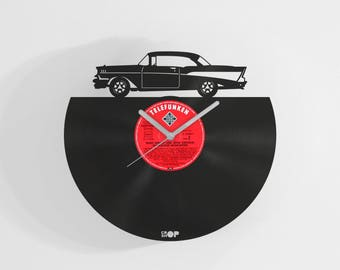 Chevrolet Bel Air inspired wall clock from upcycled vinyl record (LP), Handmade gift for Bel Air fan, garage wall decor, lasercut wall clock