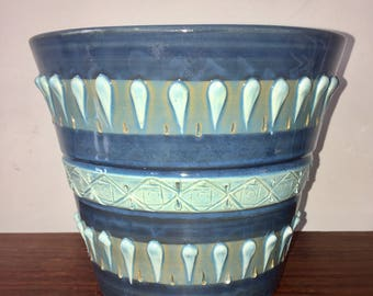 Retro Mid Century Large Blue Italian Planter Plant Pot