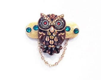 Owl with Turquoise Crystals Eyeglass Holder