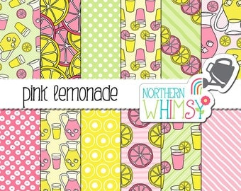 "Summer Digital Paper - ""Pink Lemonade"" - pink, green & yellow hand drawn seamless drink patterns - scrapbook paper - commercial use CU OK"