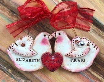 Personalizable Dove Couple / Love / Wedding Keepsake Clay Ornament