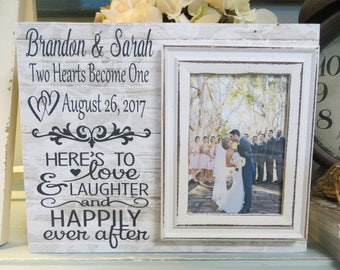"""Wood Wedding Frame, """"Here's to Love & Laughter and Happily Ever After"""", Custom Wedding Frame, Bride and Groom Personalized Frame"""