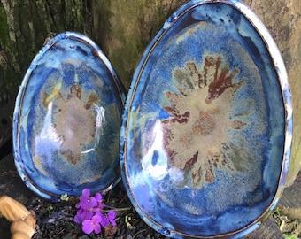Organic Shaped - 2 Shallow Nesting - Servingware - Cosmos Blue - Handmade Pottery