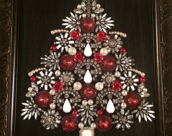 Framed Jewelry Art -  Red Jewelry Christmas Tree