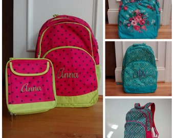 Monogrammed/Personalized Backpack/Bookbag with Matching Lunch Bag