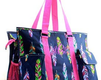 Monogrammed/Personalized Feather Utility Tote Bag, Diaper Bag, Beach Bag