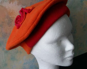Hat beret plain fleece double sided coral and orange