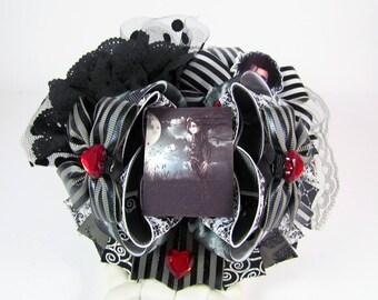 Edward Scissorhands / Edward / Burton / OTT Boutique Stacked Bows / 5 1/2 Inch Hair Bows / Twisted Boutique Bow