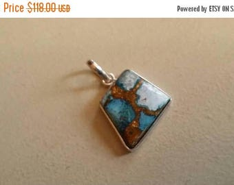 Holiday SALE 85 % OFF Copper Turquoise  Pendant Gemstones  . 925 Sterling Silver