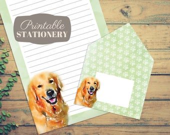 Watercolor Golden Retriever Printable Stationery Set - Instant Download Letter Writing Sheets with Print-And-Fold Envelope