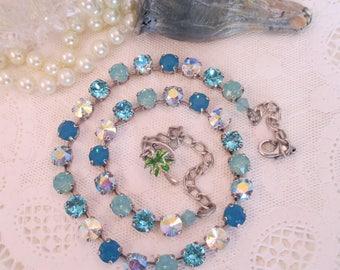 "Swarovski Crystals/Cup chain necklace/Blue crystal necklace/""Aruba""/Rhinestone necklace/Blue cup chain necklace"