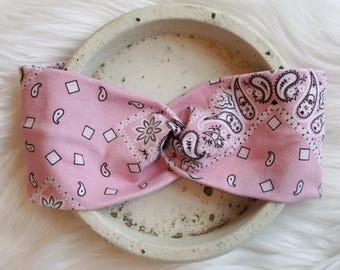 Pink Paisley Bandana Headband - Wide Headband - Turban Head wrap.  Turban.  Twist headband.  Gift.