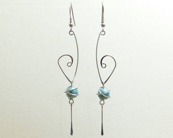 "Earrings long ""scroll"" Green/Blue ceramic and stainless steel (BOE)"