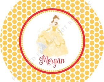 Princess Belle plate- Personalized melamine plate- Personalized plate- Kids plate- Personalized with name - Girl
