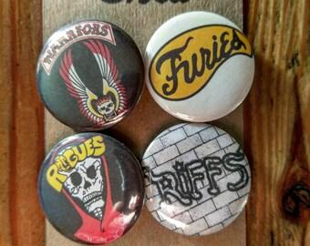 The Warriors - cult movie - 4 pin button badge set - Gang Logos